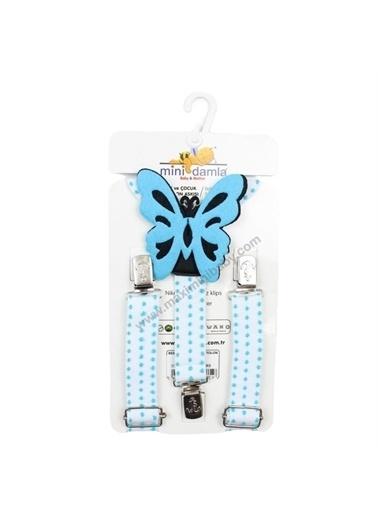 Mininio Mininio Kelebek Baskılı Klipsli Bebek Çocuk Askı Papyon Seti Mavi